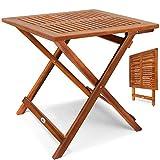 Table d'appoint pliable en bois d'acacia, table pour camping jardin 70x70x73cm