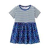 JUTOO Kleinkind Baby Kinder mädchen Streifen Splice Cartoon Blumendruck Prinzessin Kleider Kleidung (Blau130)