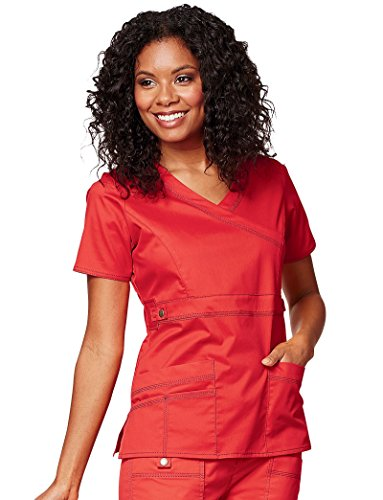 Gen Flex By Dickies Women's Mock Wrap Solid Scrub Top X-Small - Scrubs Wrap Womens Mock