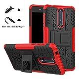 LiuShan Nokia 8 Hülle, Dual Layer Hybrid Handyhülle Drop Resistance Handys Schutz Hülle mit Ständer für Nokia 8 Smartphone (mit 4in1 Geschenk Verpackt),Rot