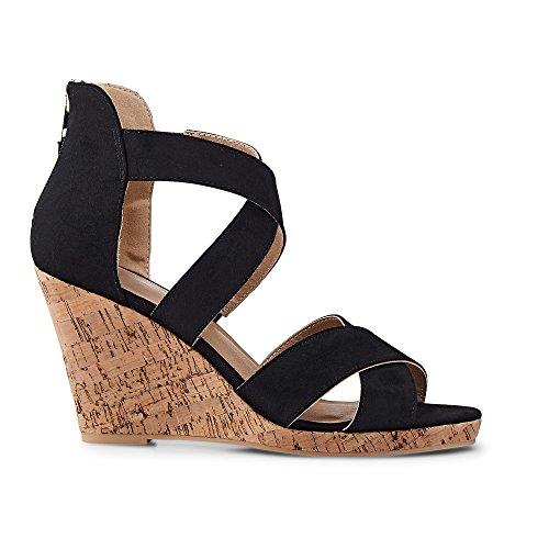 Cox Damen Damen Keil-Sandalette, Riemchen Sandale in Schwarz mit Wedges-Absatz schwarz Synthetik 40