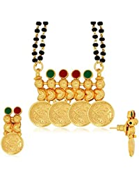 Spargz Laxmi Coin Daily Wear Brass Metal Gold AD Stone Studded Double Line Beaded Manglsutra Set For Women AIMS...