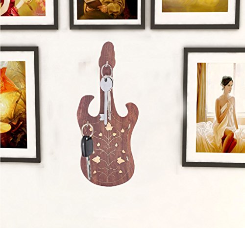 Legno key shape holder chitarra 9in, regalo per natale o compleanno ai vostri cari