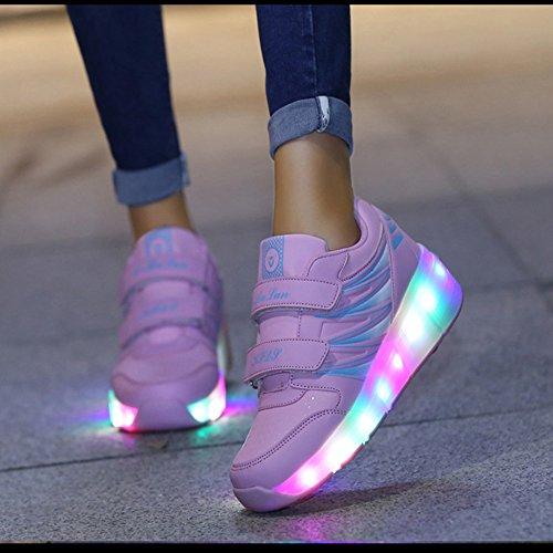CICI Kinder Räder Roller Schuhe für Mädchen Jungen mit Wheels LED leuchten neue Ankünfte Fashion Sneakers Rosa