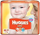 Huggies Dry Baby Diapers, M 62 Pieces