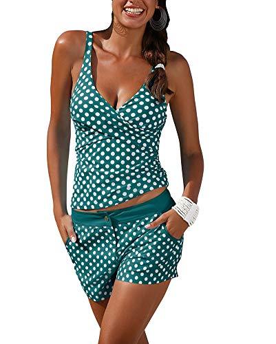 Tankinis Mujer Push Up Verano Lunares Bikini 2019 Set Dos Piezas V-Cuello Halter Ropa De Baño con Shorts Swimsuit