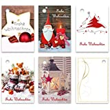 "25er Pack Geschenkanhänger ""Frohe Weihnachten"" ca. 52 x 74 mm verschiedene Motive, Anhänger, Weihnachtsanhänger, Geschenkkarte, Geschenkkärtchen, Anhängeetikett, Topper"
