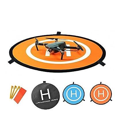 "OTraki Micro Drone Landing Pad 30"" / 75cm Fast-Fold Portable DJI Helipad Mat with Land Nails and 8 Reflective Strips Dronepad Waterproof Lauch Pads for Spark / Mavic Pro / Phantom 4 / Inspire"