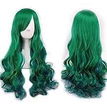 Tenflyer Las mujeres de pelo rizado ondulado largo Cosplay peluca llena Verde