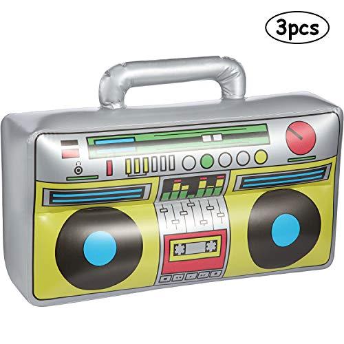 meekoo 3 Packung Aufblasbare Boombox 16,5 Zoll Aufblasbare Boombox 80s 90s Party Dekorationen für Rapper Hip Hop B-Boys Kostüm Zubehör Party - Box Boy Kostüm