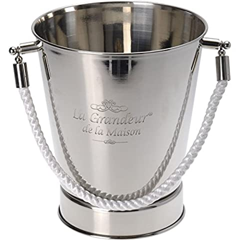 Large Stainless Steel French Silver Champagne Wine Ice Cooler Bucket Rope Handle
