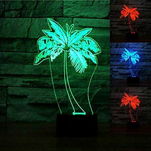 3D Palmen Led Nachtlicht mit optischer Illusion, 7 Farben, Touch-Kunst, Skulptur, Lichter mit USB-Kabel, Schlafzimmer, Schreibtisch, Tischdekoration, Lampe für Kinder und Erwachsene (Palme-touch-lampe)