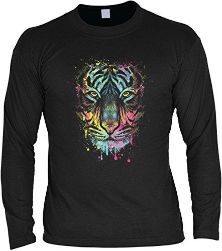 Langarm T-Shirt für Männer Langarmshirt Herren Dripping Tiger Longsleeve Katze Cat cooles Katzen Motiv Schwarz