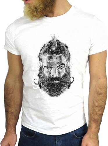 T SHIRT JODE Z1567 MAN BEARD MUSTACHE CARTOON HIPSTER COOL FASHION NICE GGG24 BIANCA - WHITE