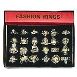 Pack 24 anillos calaveras plateados variados joyería accesorio