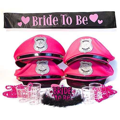 Junggesellinnenabschied Frauen Set mit Polizeimützen - Accessoires für Braut und 4 Freundinnen - Junggesellinnen: Tiara & Schärpe