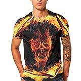 GreatestPAK T-Shirt Männer Herren Schädel Druck Shirt Kurzarm Bluse Tops Tees,Orange,XXL