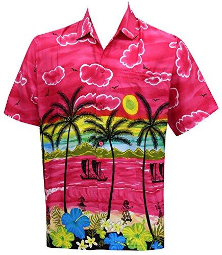 La Leela Männer Regelmäßige Aloha Hawaiische Kurze Ärmel Knopf Unten Hawaiihemd Rosa 3XL