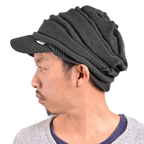 Casualbox - Bonnet en tricot à visière - Toute saison (été comme hiver) - Effet retombant - Gris - Taille Unique