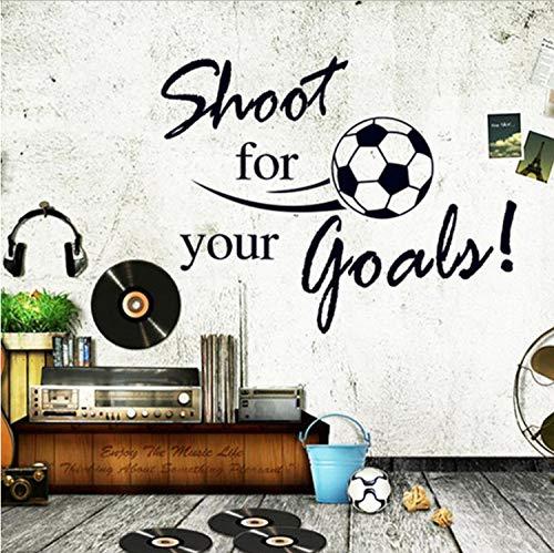 Xiaodan's shop Wandsticker Schießen Für Ihre Ziele PVC Kinderzimmer Englisch Fußball Buchstaben Wandaufkleber Abnehmbare Satz Größe 40X60 cm -