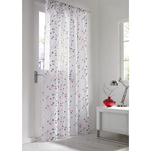 Just Contempo-Tenda in Voile, Poliestere, Berry Red, 58 x 54 Inches