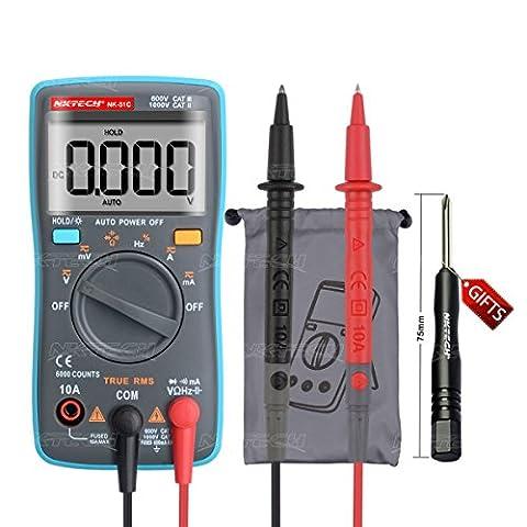 Nktech Nk-51C True RMS rétroéclairage Auto Gamme Palm multimètre numérique AC DC Tension courant résistance Capacité fréquence diode continuité Cycle Test 6000-counts Poche Mètre