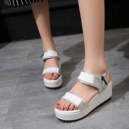 TAOFFEN Femmes Mode Bout Ouvert Sandales Compensees Plateforme Slingback Ete Chaussures 786 Argent