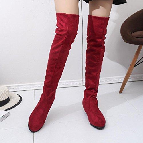 bottes de femmes,Transer® Les femmes hiver bottes plates dautomne en daim haute jambe courtes chaussures longues Rouge