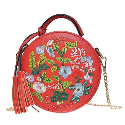 Misonz Luxus-Handtaschen Frauen Taschen Designer Floral Stickerei Crossbody Taschen Frauen Lady Runde Tasche mit Quaste Schultertasche aus PU-Leder, Damen, Rot Floral-trainer
