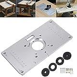 Semoic Piastra per tavolo di fresatura Piastra per inserti tavola per router in alluminio 700C + 4 viti per banchi per lavorazione del legno, 235mm x 120mm x 8mm