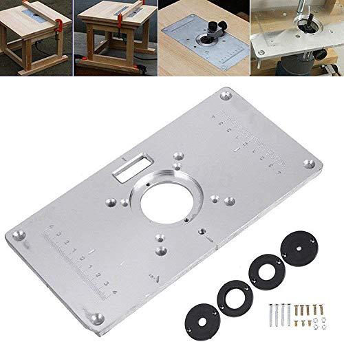 ACAMPTAR Plato de Mesa de Enrutador 700C Enrutador de Aluminio Placa de Inserción de Mesa 4 Anillos Tornillos para Bancos de Carpintería,235 Mm X 120 Mm X 8 Mm (9.3 x 4.7 x 0.3 Pulgadas)