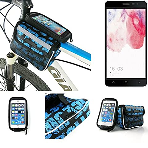 Bike frame bag Front Top Tube Pannier for Hisense F20 Dual-SIM, Head Tube cycling triple case Bicycle mount cradle Mobile Phone Holder, blue, water resistant -