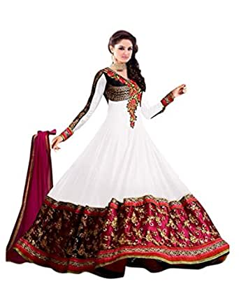Florence Women's Georgette Anarkali Salwar Suit Set (SB-2512-Reupload_White_One Size)