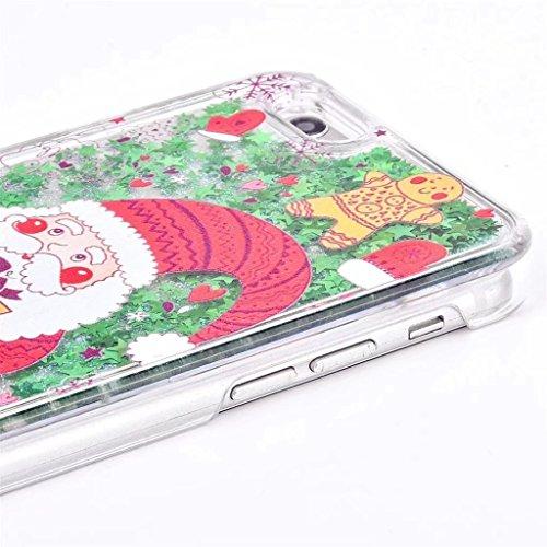 iphone 5 Hülle, iphone 5s se Schutzhülle, Retro Weihnachtsmann und Glitzer Mode Kreatives Design Fließende 3D Sternen schwimmt für iphone 5 5s se(4 Zoll), E-lush Ultra Dünn Transparent TPU+PU Weich Si Weihnachtsmann