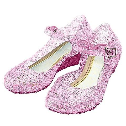 Katara - Girls Costume Shoes For Princess Dress Up Games, Childrens Wedge Heels Ballet Pumps (Aurora Bambino Costume)