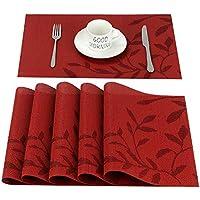 CHAOCHI Sets de Table PVC Antidérapant Lavable Résiste à la Chaleur Rectangulaire Vinyle Set de Table Restaurant, Table à Manger en Cuisine Salle à Manger, 45 x 30 CM Lot de 6 (Rouge)