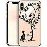OOH!COLOR Handyhülle kompatibel mit iPhone X iPhone XS Hülle Silikon Motiv transparent Slim Bumper dünn Schutzhülle durchsichtig Case Schwarze Katze unter Baum (EINWEG)
