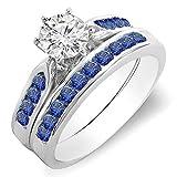 Damen Ring / Ehering 14 Karat Weißgold Rund Blau Echte Saphir & Diamant Damen Verlobungsring Ehering Set