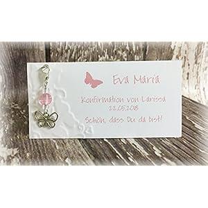 Gastgeschenk Tischkarte Tischdeko Deko Schmetterling Taufe Kommunion Konfirmation Jugendweihe rosa rose altrosa