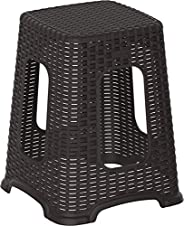 Cosmoplast Plastic Rattan Wicker High Stool, Dark Brown, Cosmoplast Rattan High Stool, IFHHXX327DW