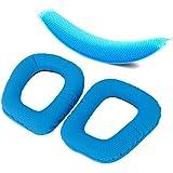 Générique Remplacement 1 paire Oreillettes Coussinets et 1pc Rembourrage Coussin de Bandeau pour G430 G930 Casque - Bleu