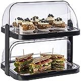 """APS Buffet Showcase""""Double Decker"""" - 2 transparante rolluiken die aan beide zijden open kunnen, 2 roestvrijstalen dienbladen,"""