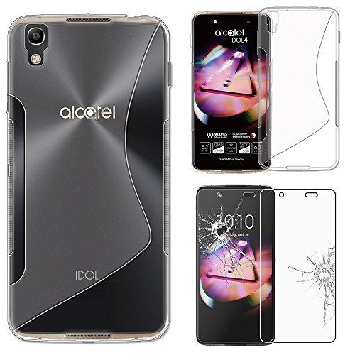 ebestStar - Alcatel Idol 4 Hülle Idol 4 (5.2) TPU S-line Style Silikongel Handyhülle, Schutzhülle Case Cover, Transparent + Panzerglas Schutzfolie [Idol 4: 147 x 72.5 x 7.1mm, 5.2'']