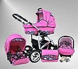 True Love Larmax 3 in 1 Cochecito Combinado Juego Completo (asiento del coche incluye adaptadores, cubierta para la lluvia, mosquitero, ruedas giratorias de 18 colores) 98 rosas et flores rosas
