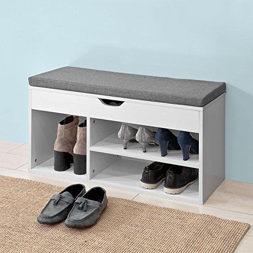 SoBuy® FSR45-HG Schuhbank mit Sitzkissen Sitzbank Schuhschrank Schuhregal in weiß, BHT ca: 80x46x30cm