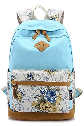 BeautyWill Fashion-Rucksack für Damen, Mädchen, Schülern, Schülerinnen - Lässiger Canvas-Rucksack, Vintage-Backpack, Daypack,Tagesrucksack, Schulranzen himmelblau