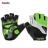 Radsport Handschuhe Halb Finger Fahrradhandschuhe Stoßdämpfung Fitness- und Trainingshandschuhe für Damen und Herren (Grün 1024, L)