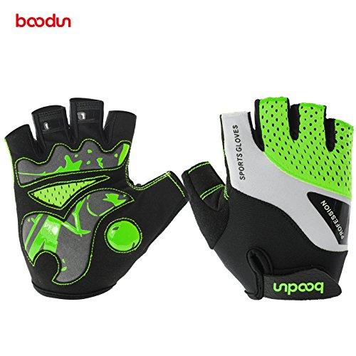 Radsport Handschuhe Halb Finger Fahrradhandschuhe Stoßdämpfung Fitness- und Trainingshandschuhe für Damen und Herren (Grün 1024, M)