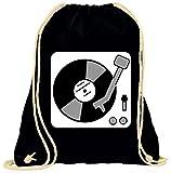 """'Turn Bolsa """"tornavía de música de vinilo de conjunto de datos de DJ de entretenimiento de discoteca de Musical de Techno de Grunge de jahrgang de hip hop con cordón–100% algodón de bolsa Con Asas De Mochila de bolsa de deporte, negro"""