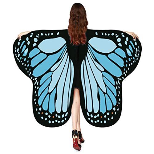 Auiyut Frauen Schmetterling Kostüm Butterfly Wings mit Schwarzem Kragen Schal Ladies Karneval Flügel Umhang Poncho Kostüm Zubehör für Show Daily Party Halloween (Hellblau, FREIEGRÖSSE)